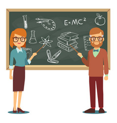 male and female teachers standing in front of vector image
