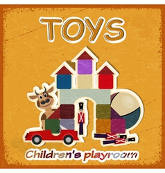 Vintage card and a picture of old toys vector image
