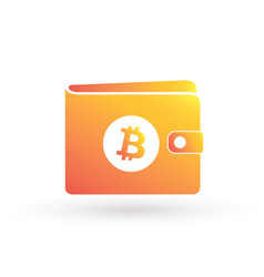 bitcoin orange wallet with crypto currency logo vector image
