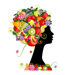 Female profile silhouette hairstyle with fruits vector image vector image