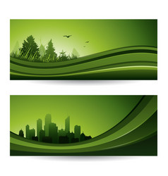 fresh green abstract nature banner with trees and vector image vector image
