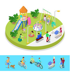 isometric city park composition with playground vector image