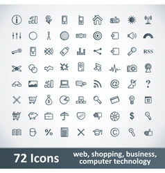Large Icons Set 72 Icons vector image
