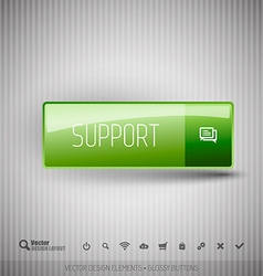Modern button with SUPPORT icons set vector image