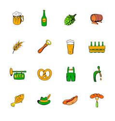 oktoberfest set icons set cartoon vector image vector image