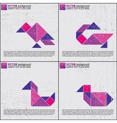 Set of tangram birds vector image vector image