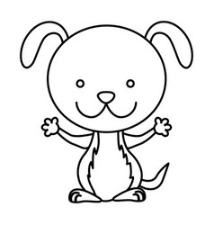 silhouette picture cute dog animal vector image