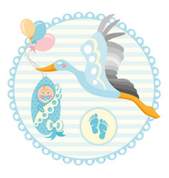 cartoon stork with baby design template for vector image