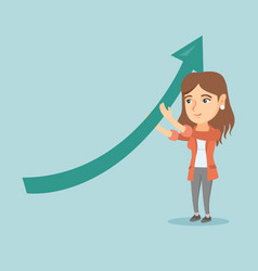 caucasian business woman holding arrow going up vector image vector image