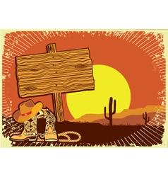 cowboys landscape vector image vector image