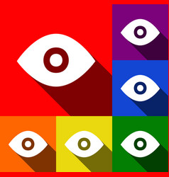eye sign set of icons with vector image
