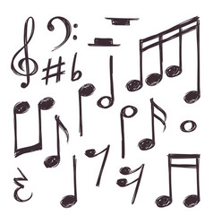 hand drawn music note musical symbols vector image vector image