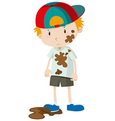 Little boy wearing dirty clothes vector image vector image
