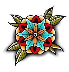Old school tattoo flower vector image