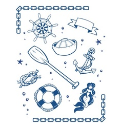 Sea and nautical symbols vector image vector image