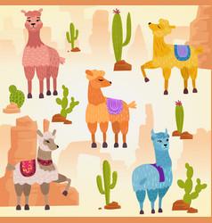 set of cute alpaca lama vector image