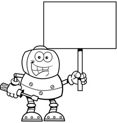 cartoon robot holding a wrench and a sign vector image vector image