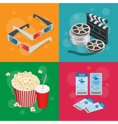 Concept cinema banners Realistic Cinema concept vector image
