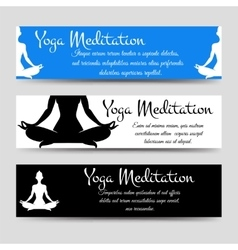 meditation men yoga horizontal banners set vector image vector image