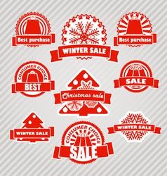 Winter discount labels set vector image vector image
