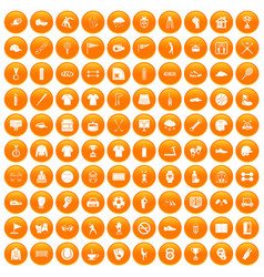 100 sport club icons set orange vector