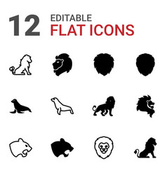 12 lion icons vector image