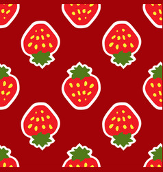 abstract seamless red strawberry background vector image