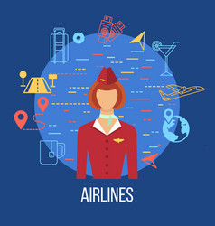 Airport icons professions avatar icon vector