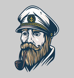 bearded ship sailor with captain cap and a pipe vector image