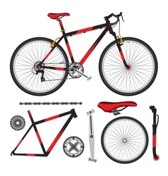 Bicycle bike parts accessories details vector image