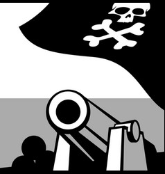 big gun aboard a pirate ship vector image