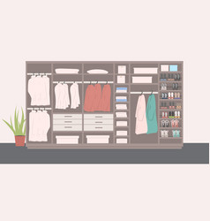 big wardrobe with different stylish shoes and vector image