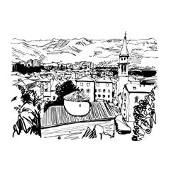 Black and white sketch art panorama of Budva vector