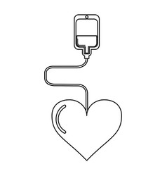 Blood bag with heart black and white vector