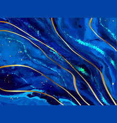 Blue marble and gold abstract background texture vector