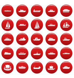 boat icons set vetor red vector image