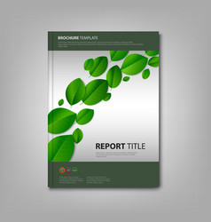 Brochures book with green leaves template vector