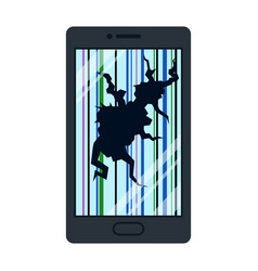 broken smartphone or cellphone isolated on white vector image