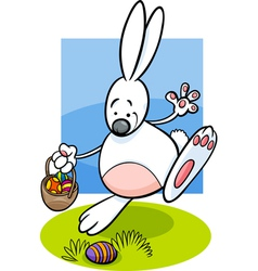 bunny and easter eggs cartoon vector image