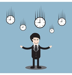 Businessman standing and time clock falling vector