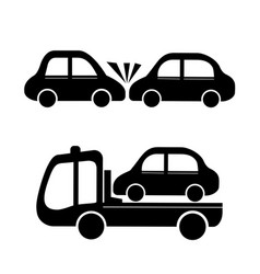 car crash and car towing truck icon vector image