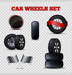 car wheels set flat tires and speedometer vector image