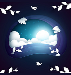 cartoon night landscape cloud branch leaf moon vector image