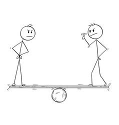 Cartoon of two man or businessman measurement vector
