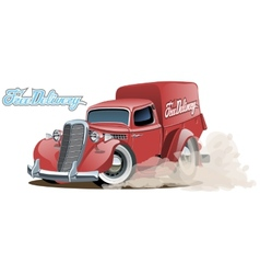 Cartoon retro delivery van vector