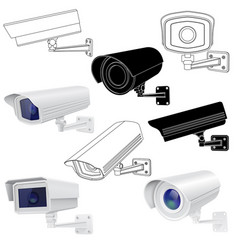 cctv security camera set surveillance devices 3d vector image
