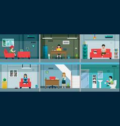 children reading in room vector image