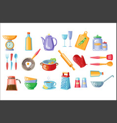 cooking icons set kitchen utensils with scales vector image