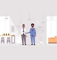 Couple men handshaking african american business vector