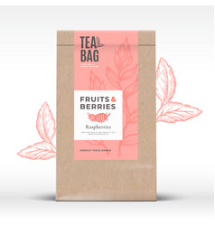 craft paper bag with fruit and berries tea label vector image